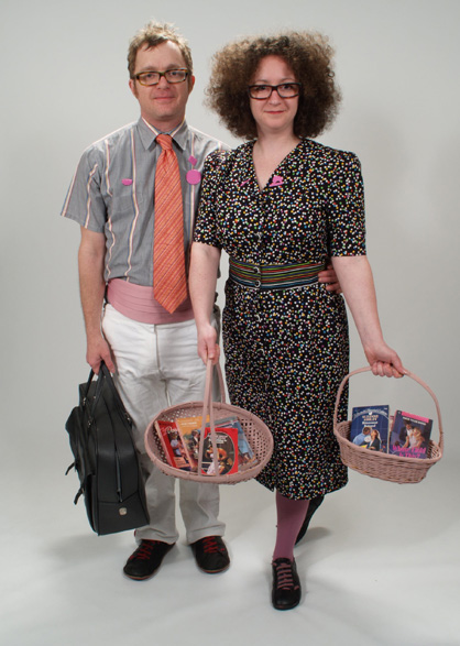 Julie and Andy as Romance Novel Peddlers